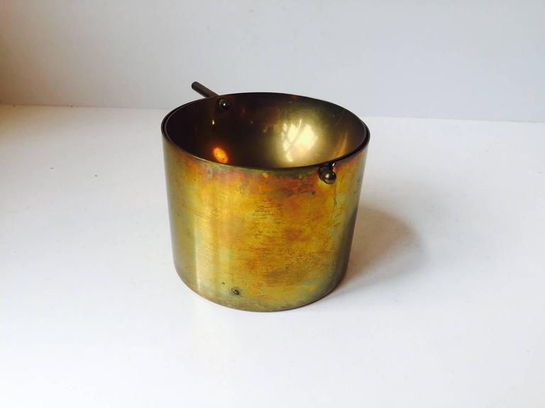 Patinated Rare Large Cylinda-Line Brass Cigar Ashtray by Arne Jacobsen for Stelton, 1960s For Sale