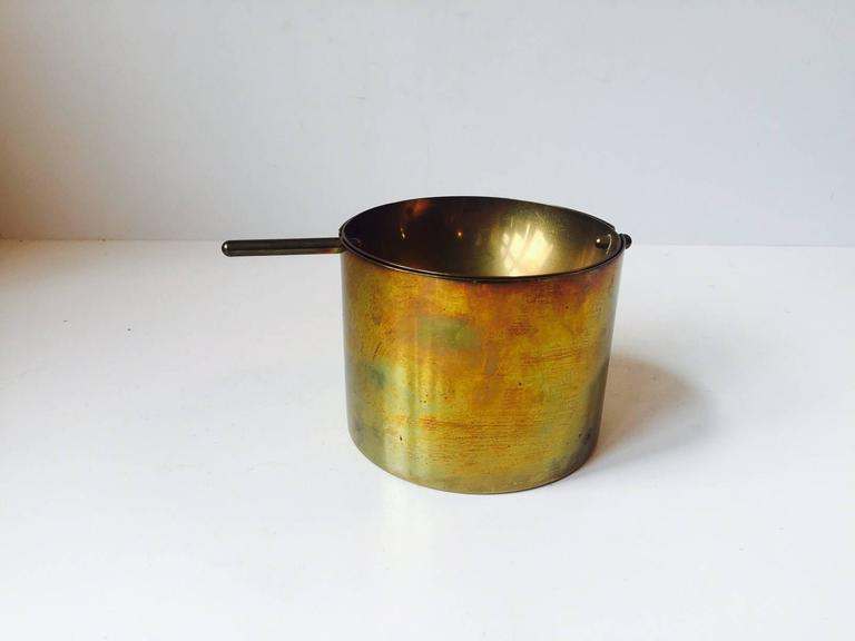 Mid-Century Modern Rare Large Cylinda-Line Brass Cigar Ashtray by Arne Jacobsen for Stelton, 1960s For Sale