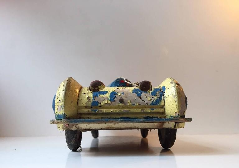 Painted Unique, Decorative & Rustic 1930s Streamlined Wooden Toy Car with Dunlop Tires For Sale