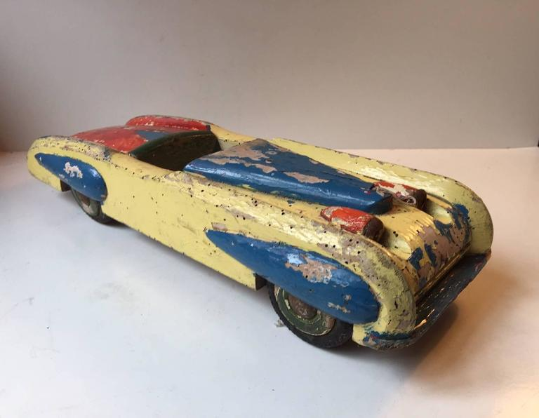 Art Deco Unique, Decorative & Rustic 1930s Streamlined Wooden Toy Car with Dunlop Tires For Sale