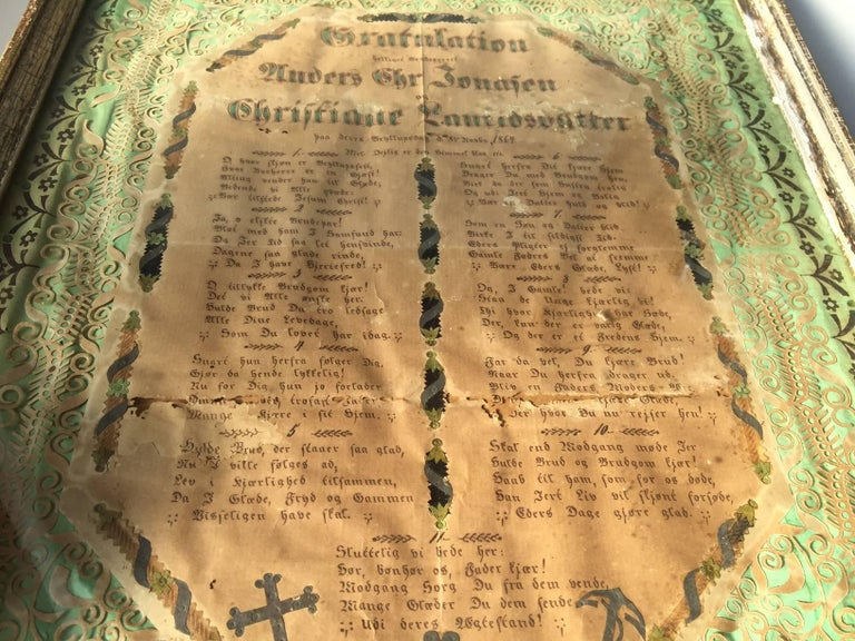Some 150 years ago this Volk Art Work was presented as a gift to a wedding. It is called a declaration of love or a Honorable Gratulation attesting two people bonded in marriage. A lot of precise handwork went into this piece that still has its