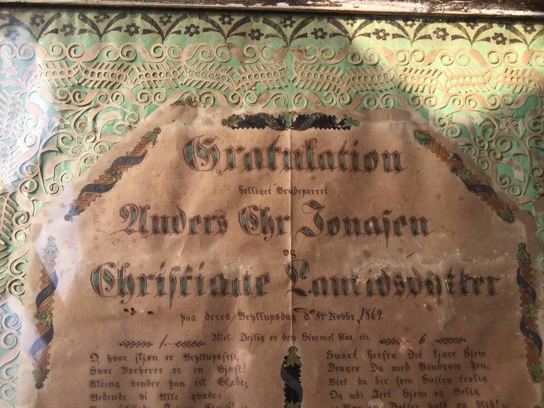 Mid-19th Century Antique Danish Folk Art Wedding Greeting Declaration in Original Frame, 1864 For Sale