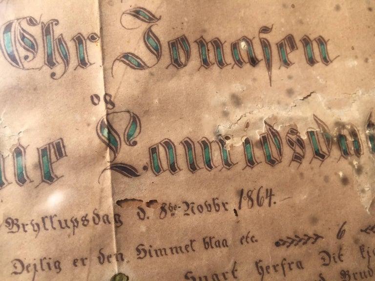 Antique Danish Folk Art Wedding Greeting Declaration in Original Frame, 1864 For Sale 2