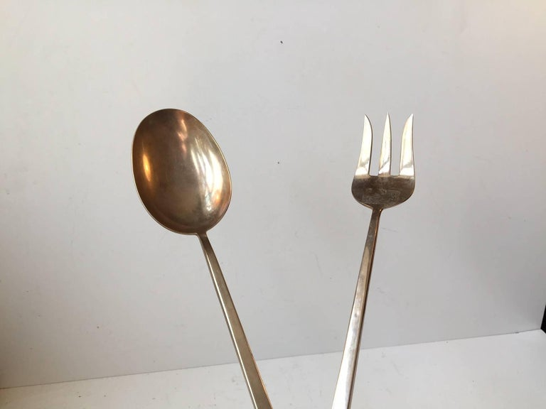Mid-Century Modern Danish Midcentury Bronze Salad Serving Set by Prince Sigvard Bernadotte, 1950s For Sale