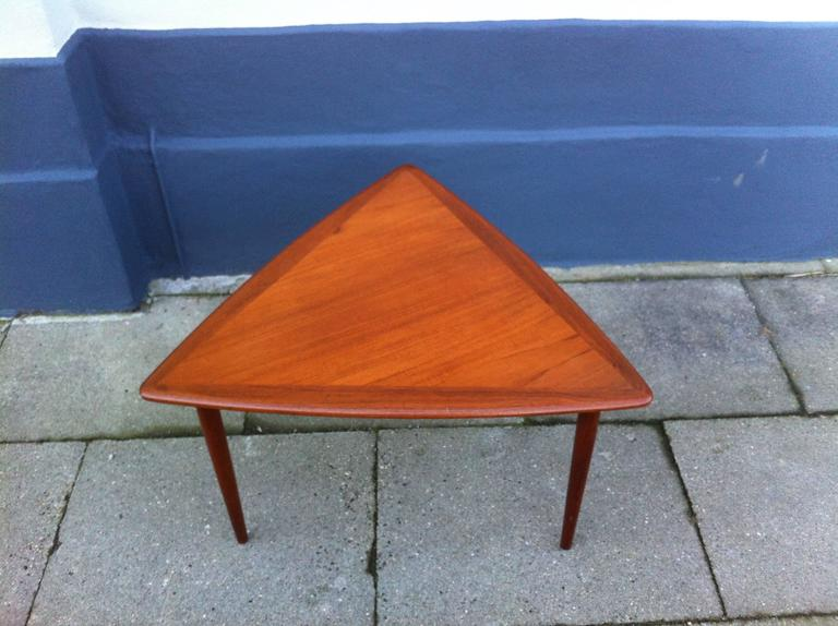 Triangular Shaped Danish Modern S Coffee Table With Rounded - Mid century triangle coffee table