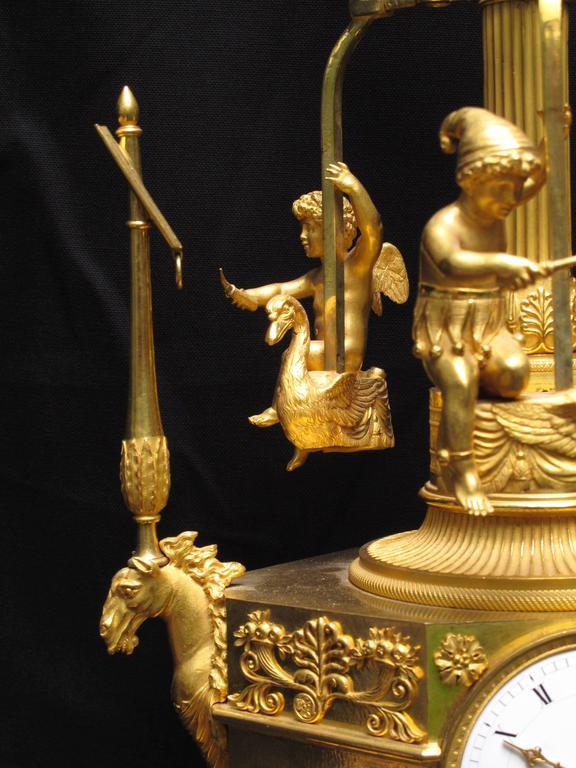 Rare Empire Ormolu Automaton Carousel Clock, Vaillant, Paris, circa 1805 3