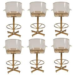 1970s Charles Hollis Jones Lucite and Brass Swivel Bar Stools, Set of Six