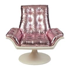 1960s Space Age Side Chair in Metallic Pink Leather