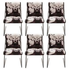 1980s Chrome 'Z' Dining Chairs in Roberto Cavalli Alexander the Great Fabric