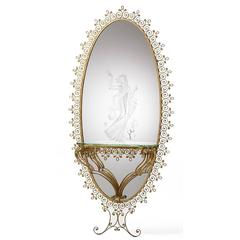Colli Torino Gilded and Etched Floor Length Mirror and Glass Console