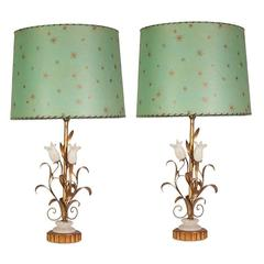 Italian Gilt Metal and Alabaster Tulip Lamps with Custom Parchment Lampshades