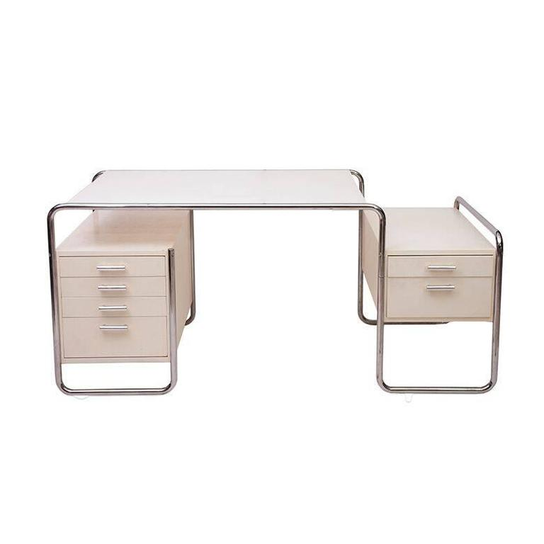Marcel Breuer chromed-steel and enameled desk, 1970