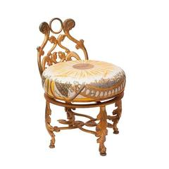 Gold Gilded Iron Vanity Stool in Vintage Hermès Daffodil Silk