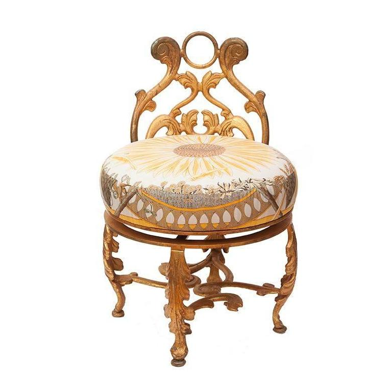 Gold Gilded Iron Vanity Stool In Vintage Herm 232 S Daffodil
