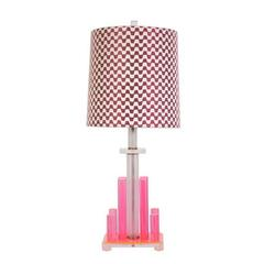 Pink Lucite Table Lamp with Custom Missoni Lampshade