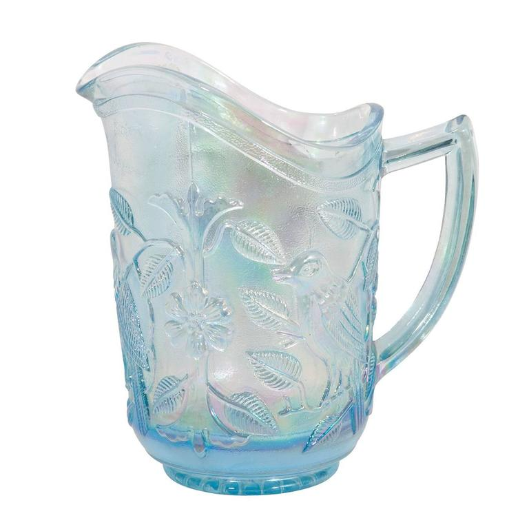 Mid-Century Modern Iridescent Blue Pitcher and Glass Set For Sale