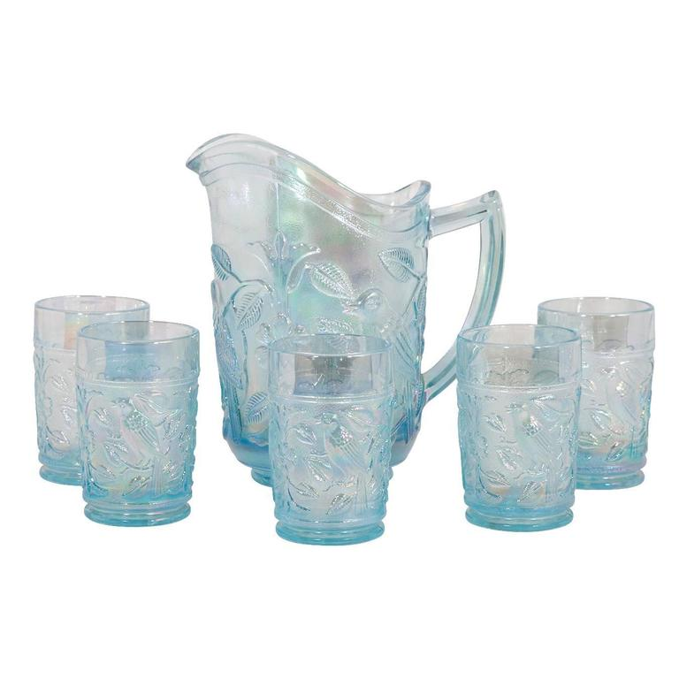 Iridescent Blue Pitcher and Glass Set For Sale
