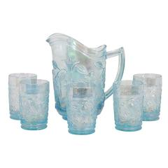 Iridescent Blue Pitcher and Glass Set