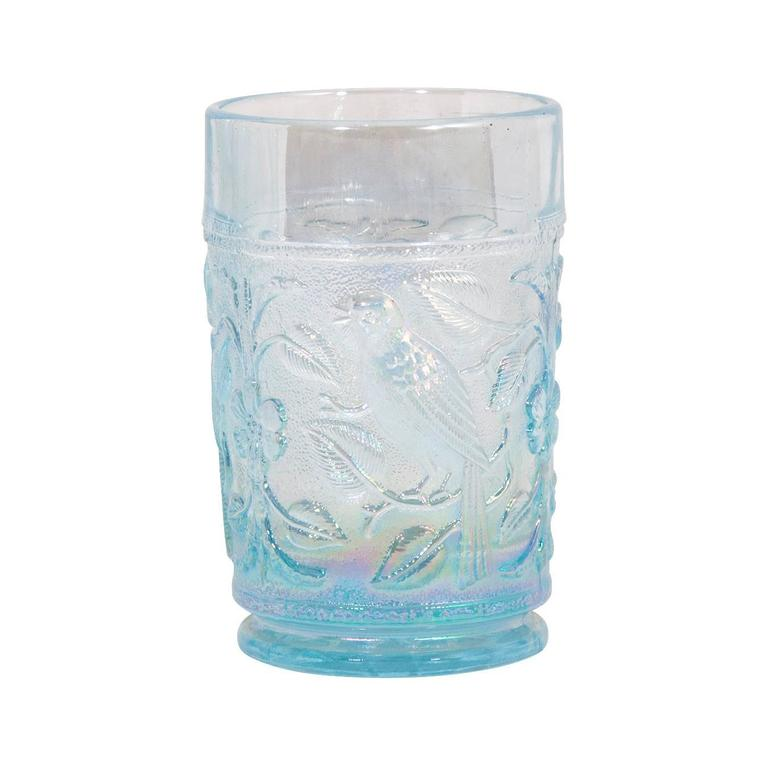Iridescent Blue Pitcher and Glass Set  Pitcher: 8.5'' H x 5.25'' D x 8'' W  Glasses (individually): 4.5'' H x 2 3/4'' D