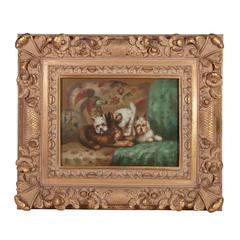 Dog Painting with Parrot in Hand-Carved Gilded Frame