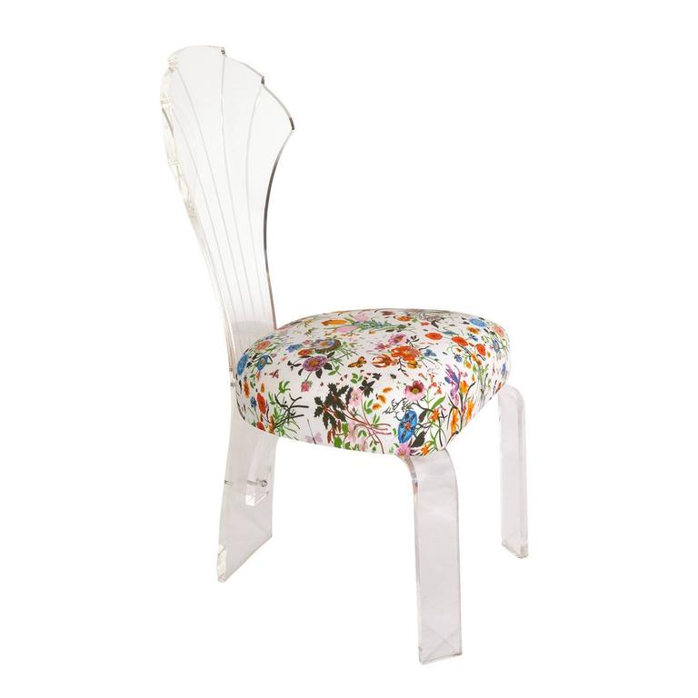 Shellback Lucite Chair in Gucci Floral Fabric
