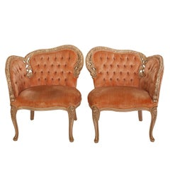19th Century Tufted French Side Chairs in Coral Velvet