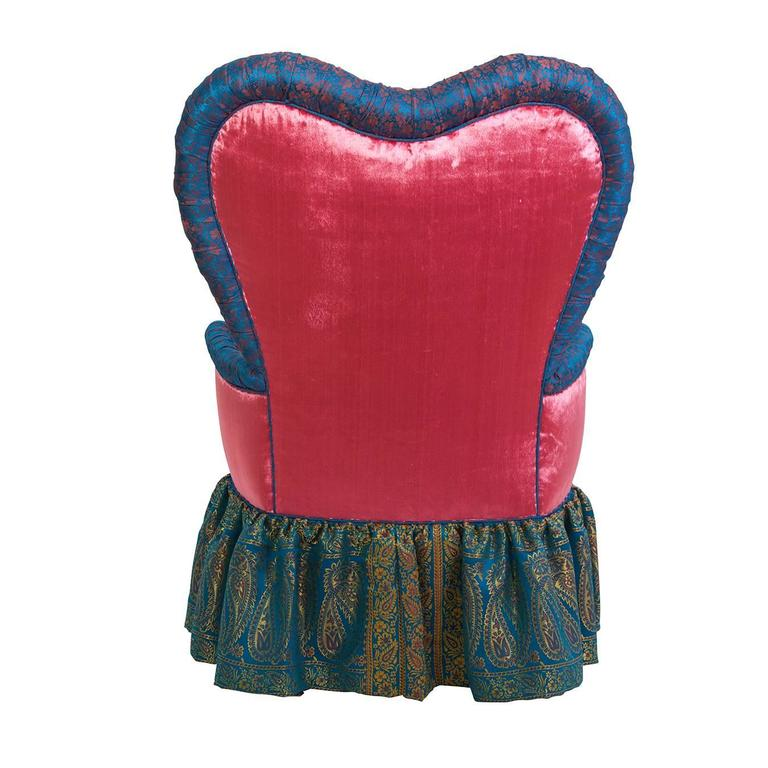 Victorian heart chair in iridescent pink velvet and Syrian Damascus silk.
