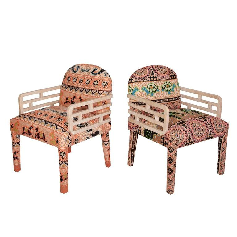 Maitland Smith Tessellated Stone Side Chairs In Punta Del Este Fabric, Pair  For Sale