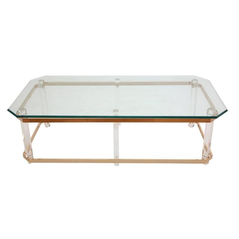 American Charles Hollis Jones Lucite, Brass and Glass Side Table, circa 1970s For Sale