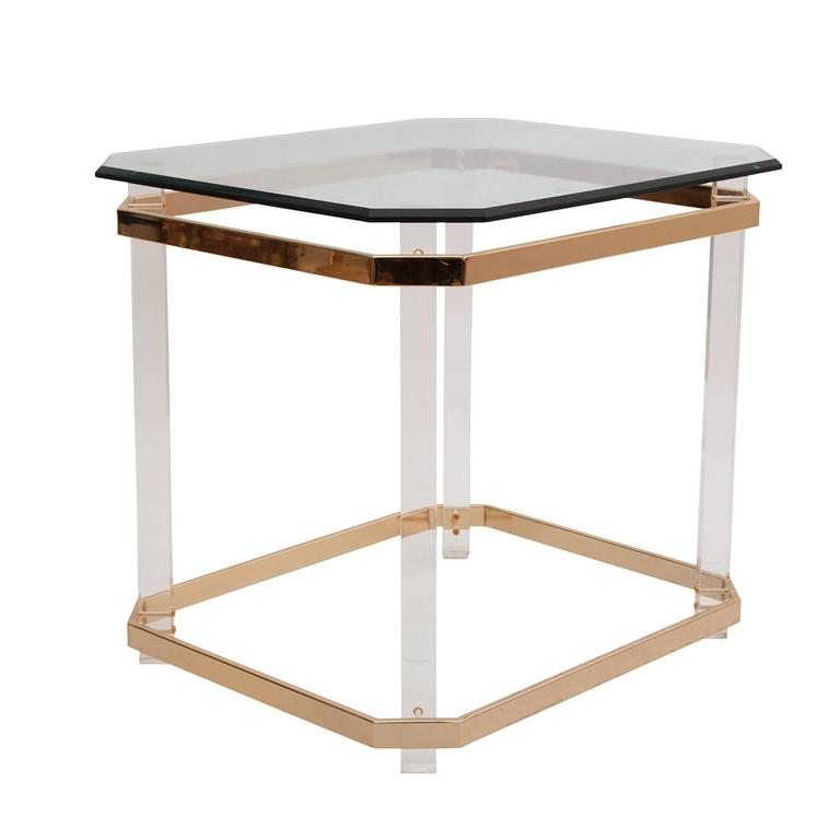 Charles Hollis Jones Lucite, Brass and Glass Side Table, circa 1970s In Good Condition For Sale In New York, NY