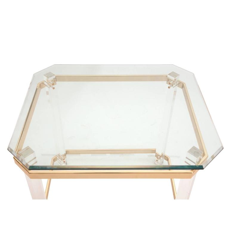 American Modern Charles Hollis Jones Lucite, Brass and Glass Side Table, circa 1970s For Sale