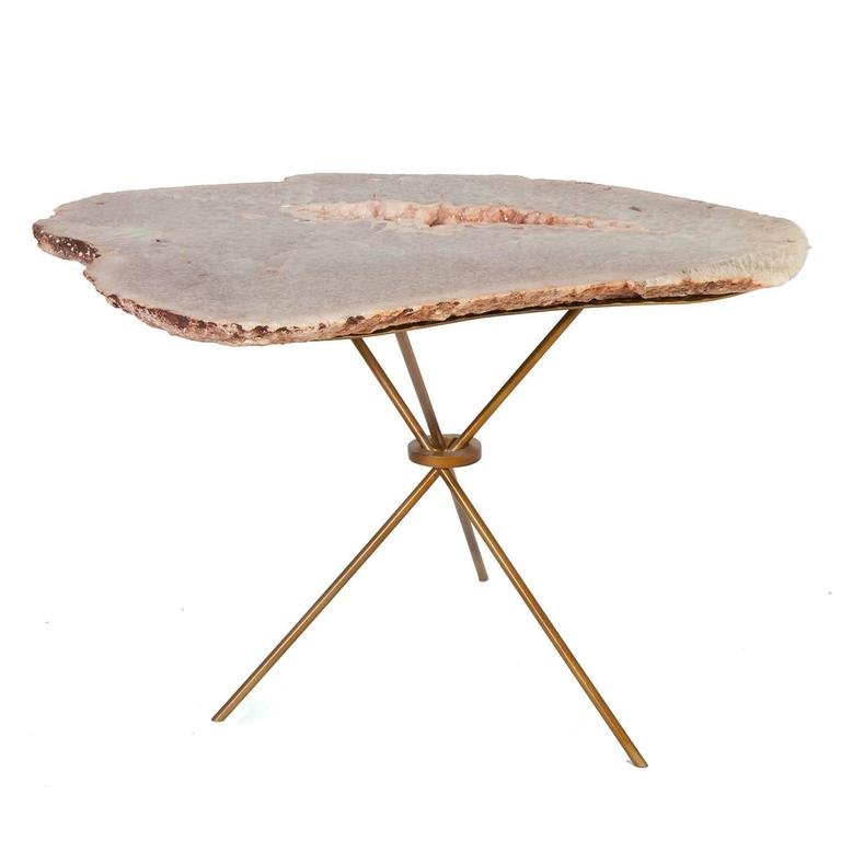 rose quartz agate side table for sale at 1stdibs. Black Bedroom Furniture Sets. Home Design Ideas