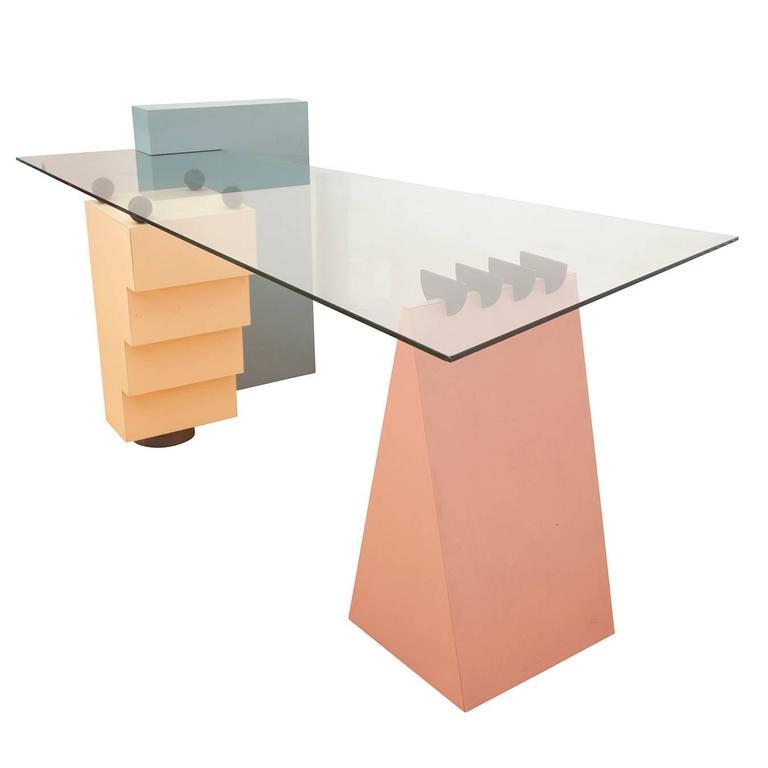 Mid Century Modern Memphis Milano Style Desk For Sale