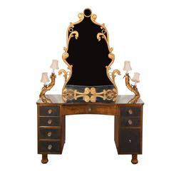 French Rococo Gilded and Mirrored Light Up Vanity