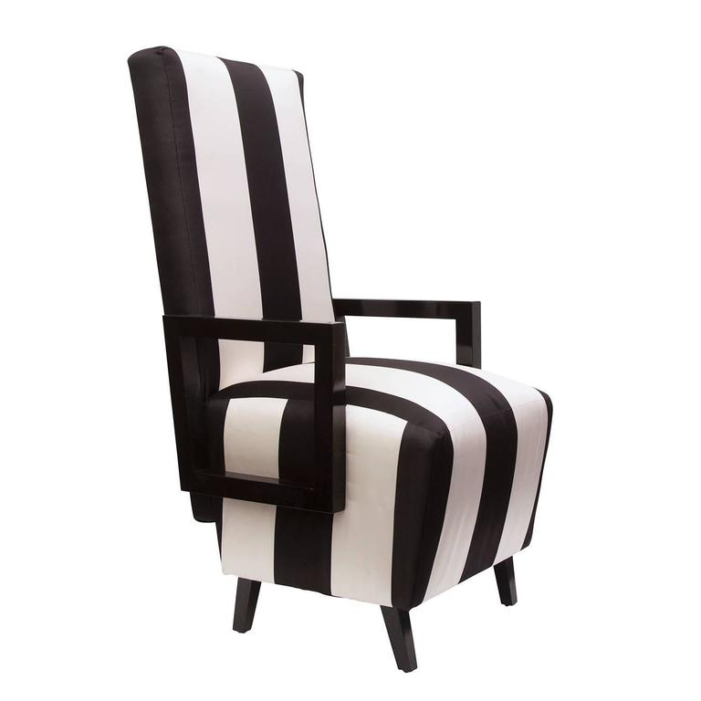 High Back Dining Chairs In Black And White Stripped Silk
