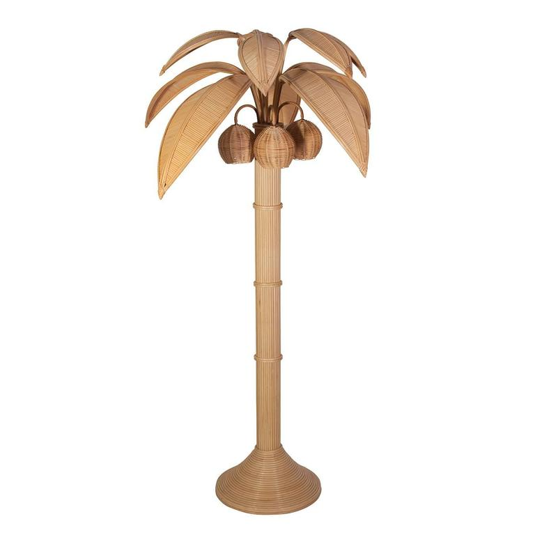 Mario Lopez Torres Rattan Coconut Palm Tree Floor Lamp 1