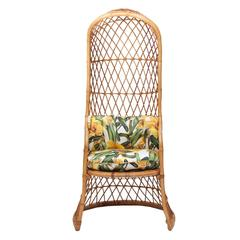 Bohemian Rattan Hooded Chair in Dolce & Gabbana Zucchini Silk