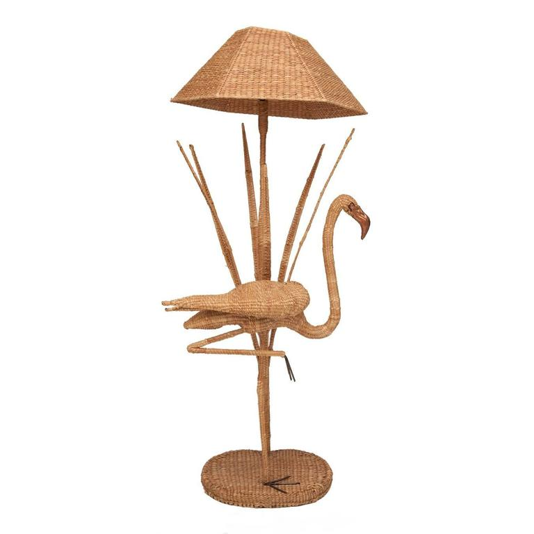 Mario Lopez Torres Flamingo Wicker Floor Lamp with Bronze Accent 2