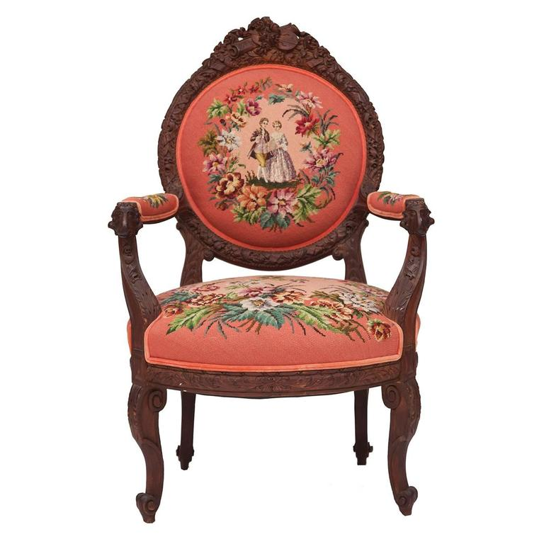 19th Century Hand Carved French Needlepoint Aubusson Chair With Musical  Accents For Sale