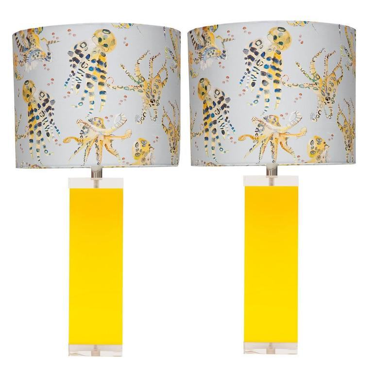 Yellow lucite and acrylic table lamps with voutsa octopussi silk yellow lucite and acrylic table lamps with voutsa octopussi silk shade pair for sale aloadofball Image collections