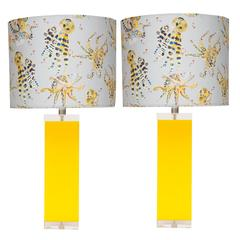 Yellow Lucite and Acrylic Table Lamps with Voutsa Octopussi Silk Shade, Pair