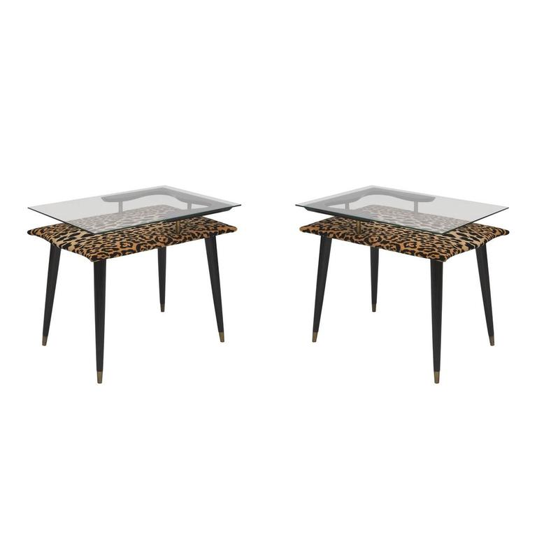 1970s Cheetah Velvet Italian Side Tables with Custom Glass Top, Pair