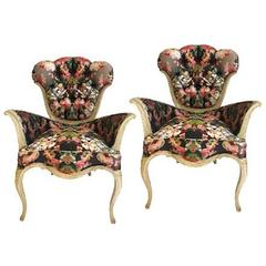 19th Century French Tufted Chairs in Alexander McQueen Floral Silk, Pair