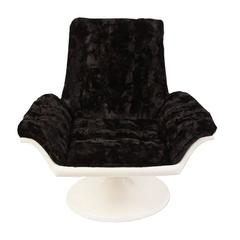 1960s Space Age Swivel Chair in Faux Fur
