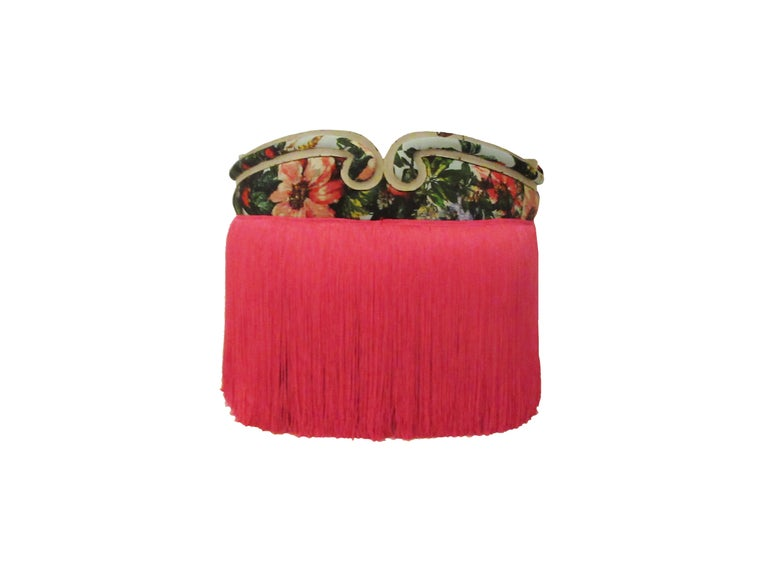 Antique French boudoir stools in Dolce & Gabbana silk and pink fringe skirt, pair.