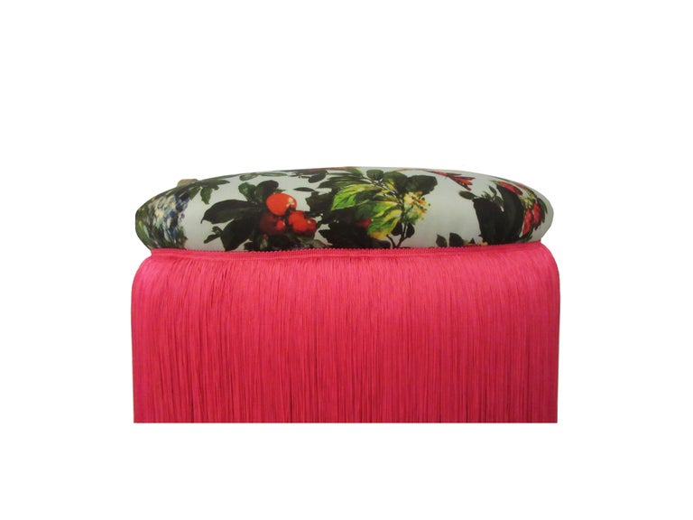 Hollywood Regency French Boudoir Stools in Dolce & Gabbana Silk and Pink Fringe Skirt, Pair For Sale