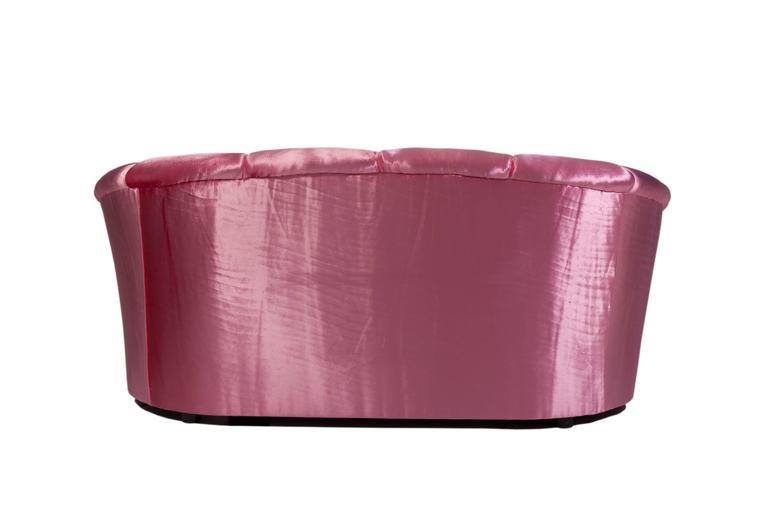 1980s Croissant Sofa in Pink Velvet 3