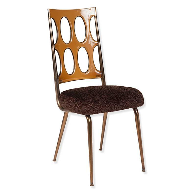 Space Age Dining Chairs Amber Lucite And Brown Faux Fur Set Of Six For Sale
