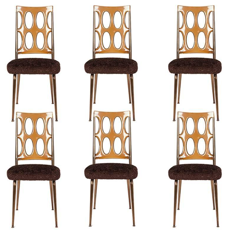 Space Age Dining Chairs, Amber Lucite And Brown Faux Fur, Set Of Six