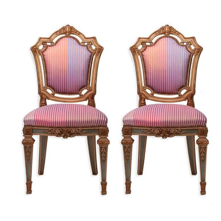 Louis XVI Side Chairs in Syrian Damascus Metallic Stripes, Pair